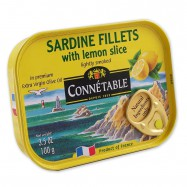 Lightly Smoked French Sardines Fillets in Extra Virgin Olive Oil with Lemon Slice - (Pack of 3)